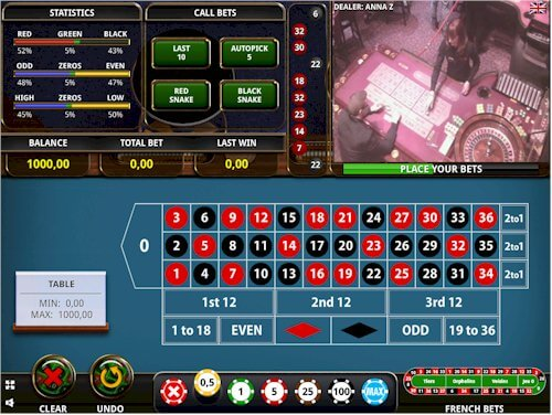 Top view of live online casino.