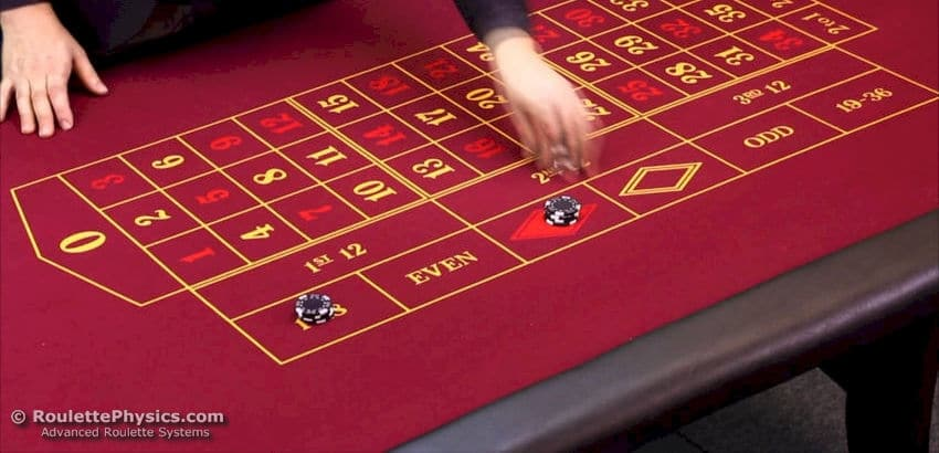 Red roulette table