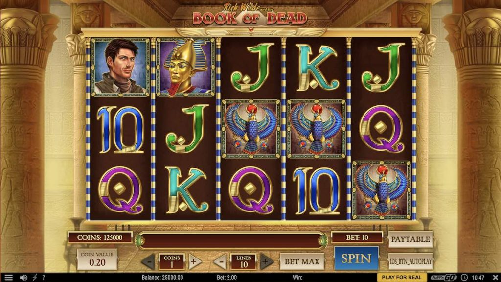 Egyptian slots interface.