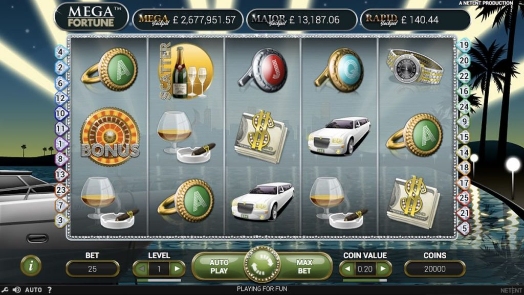 Mega Fortune slots interface.