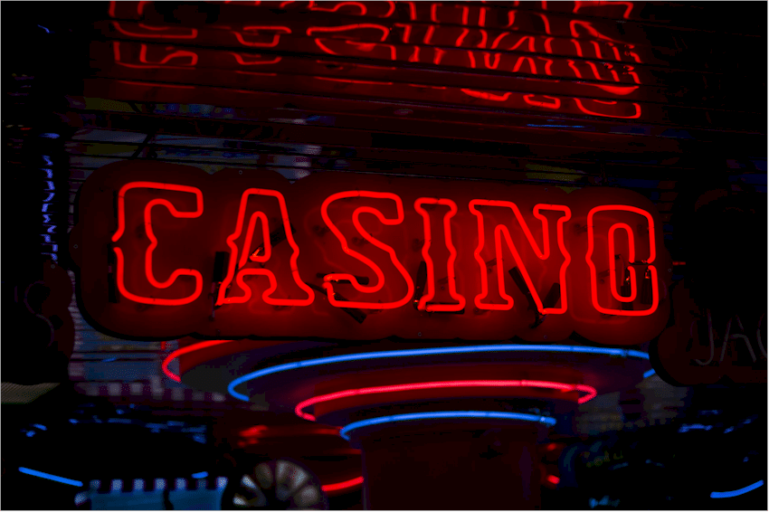 Casino sign in neon lights